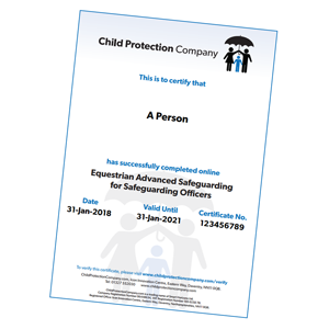Equestrian Advanced Safeguarding for Safeguarding Officers Certificate