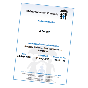 Keeping Children Safe In Education 2018 certificate
